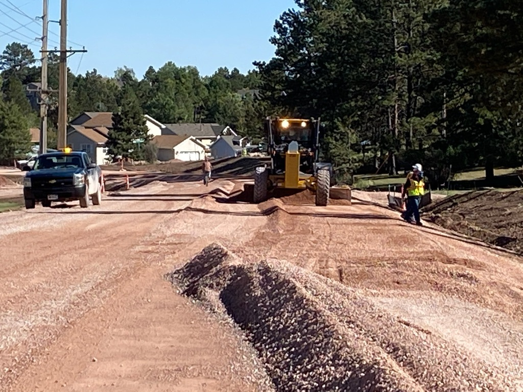 Gravel placement on Sheridan Lake Road from Spring Canyon Trail to Jasmine Lane 2020-09-29