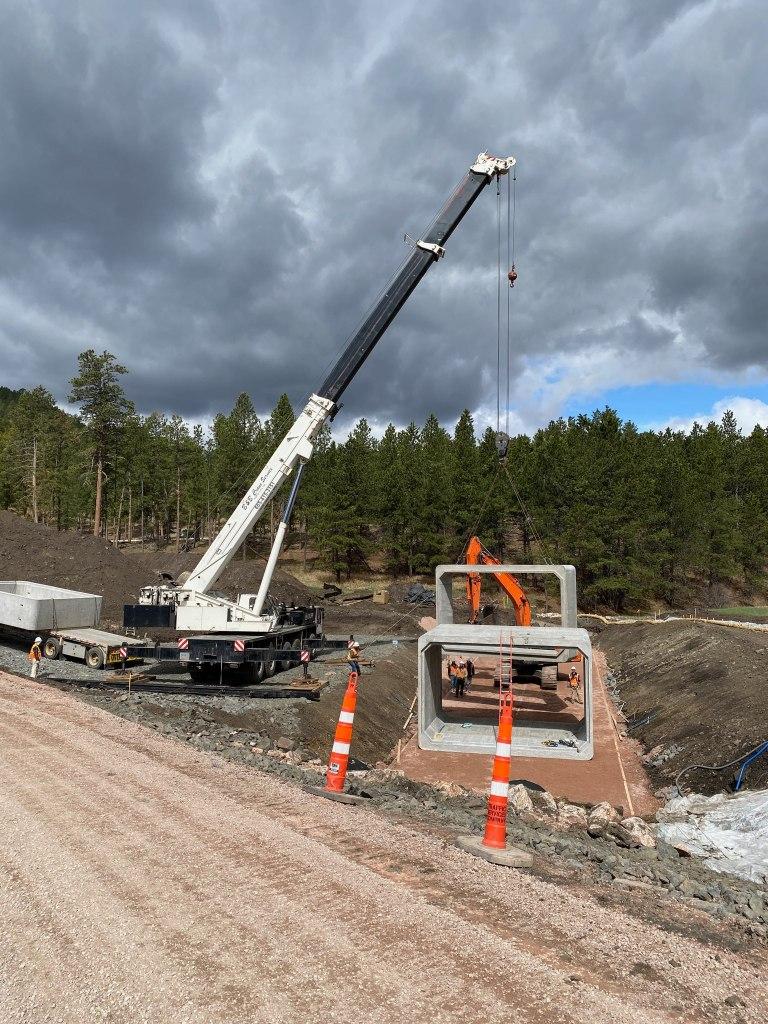 Installing Box Culvert at Horse Creek on Sheridan Lake Road in Pennington County, South Dakota, Monday, May 3, 2021.