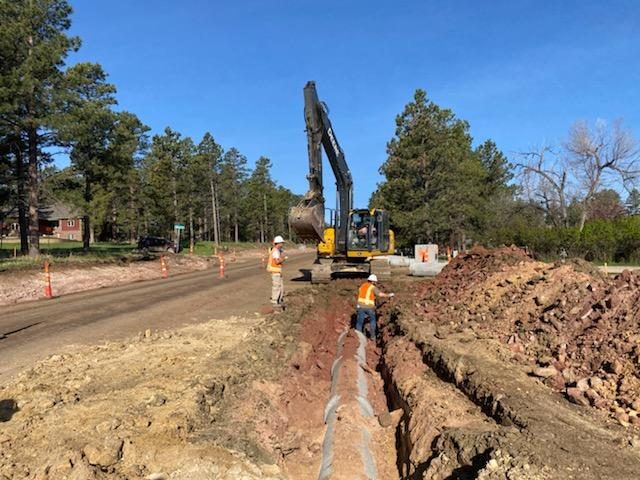 Storm Sewer Installation on Sheridan Lake Road in Pennington County, South Dakota, Monday, May 17, 2021.
