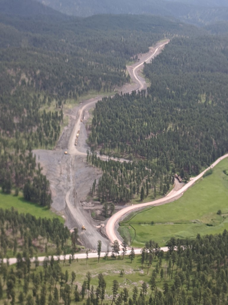 Aerial View of Sheridan Lake Road Reconstruction in Pennington County, SD, Monday, June 28, 2021. Photo by: Ron Rossknecht