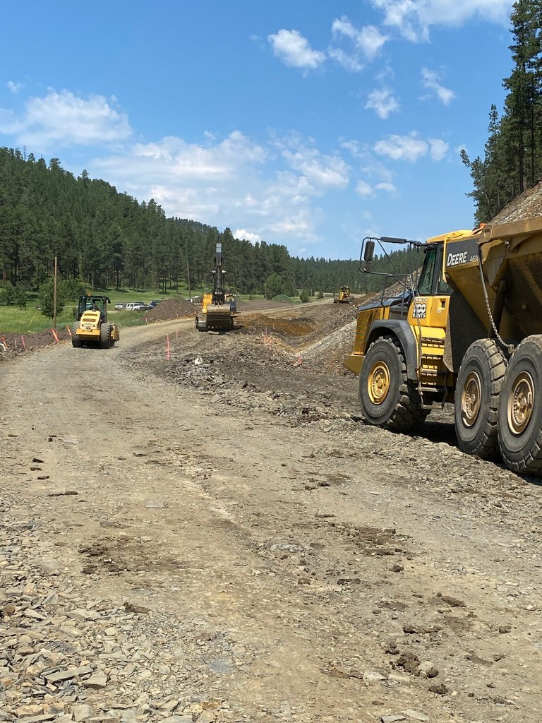 Continuing Dirt Work on Sheridan Lake Road Near Victoria Lake Road in Pennington County, South Dakota, Wednesday, July 7, 2021.