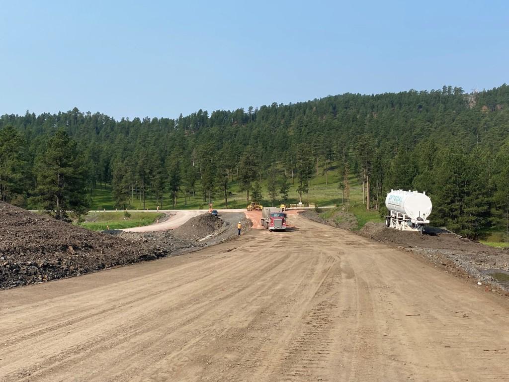Gravel placement near Highway 385 on Sheridan Lake Road, Pennington County, South Dakota, Monday, July 19, 2021.
