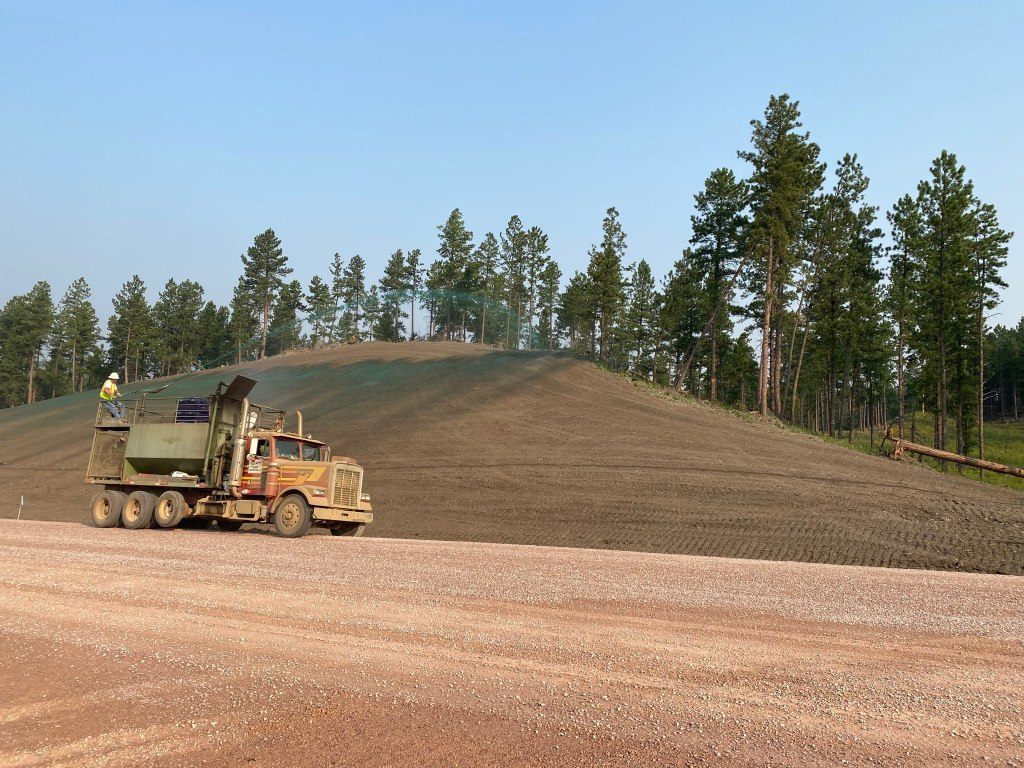 Seeding Backslopes on Sheridan Lake Road, Pennington County, South Dakota, Monday, August 23, 2021